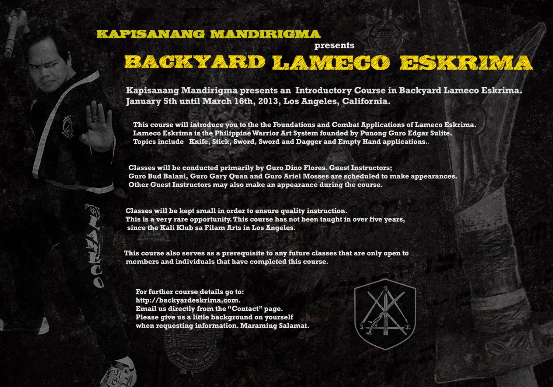 Kali Klub 2013 arnis eskrima backyard lameco